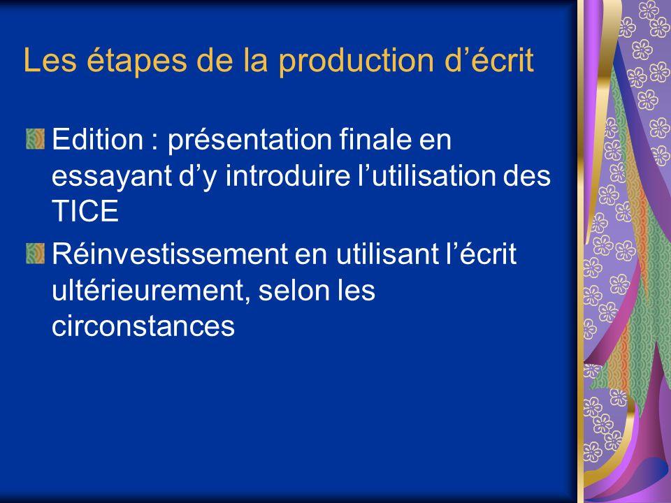Les étapes de la production d'écrit