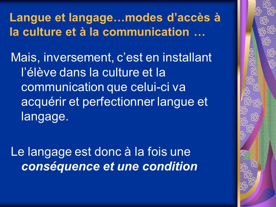 Langue et langage…modes d'accès à la culture et à la communication …