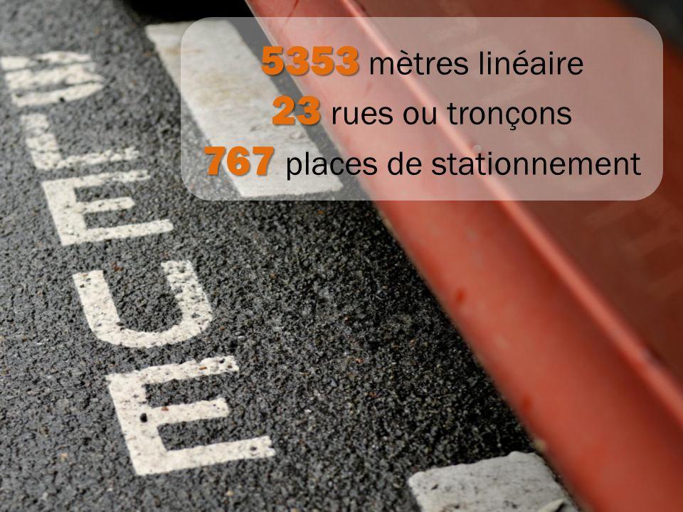 767 places de stationnement