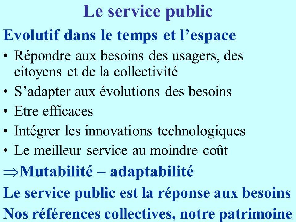 Le service public Evolutif dans le temps et l'espace