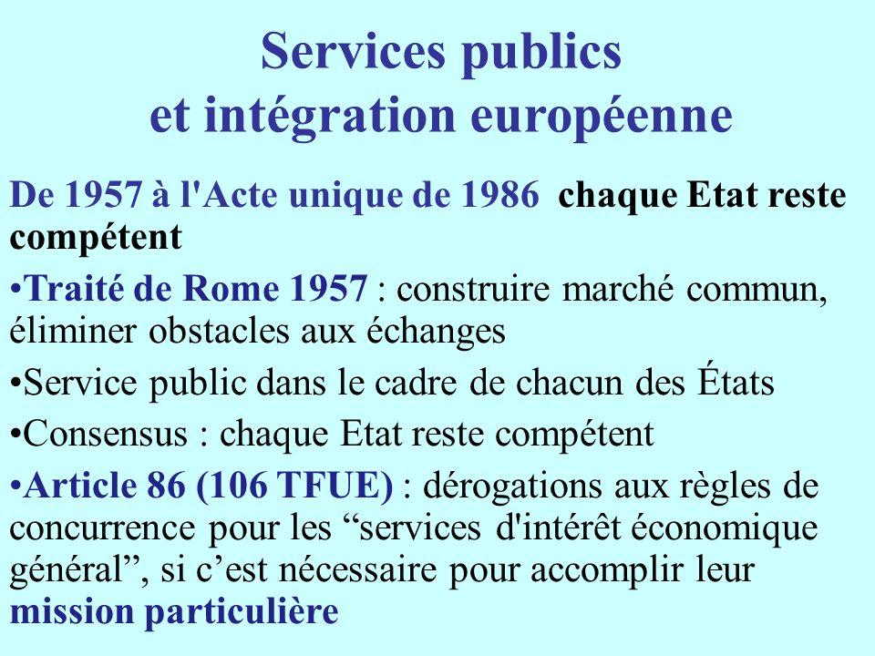 Services publics et intégration européenne