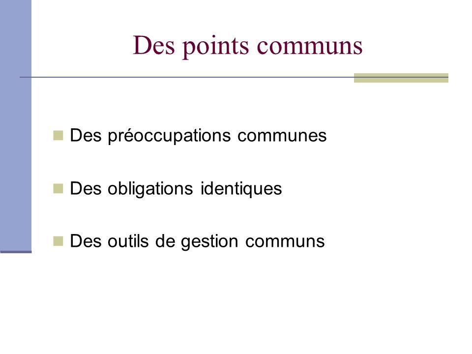 Des points communs Des préoccupations communes