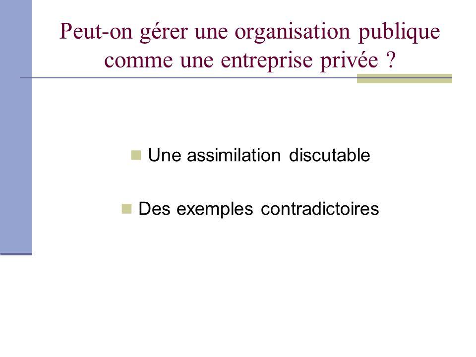 Peut-on gérer une organisation publique comme une entreprise privée