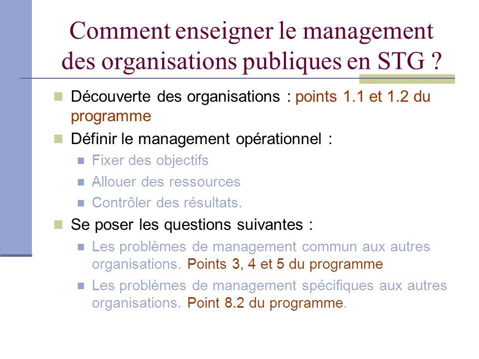 Comment enseigner le management des organisations publiques en STG
