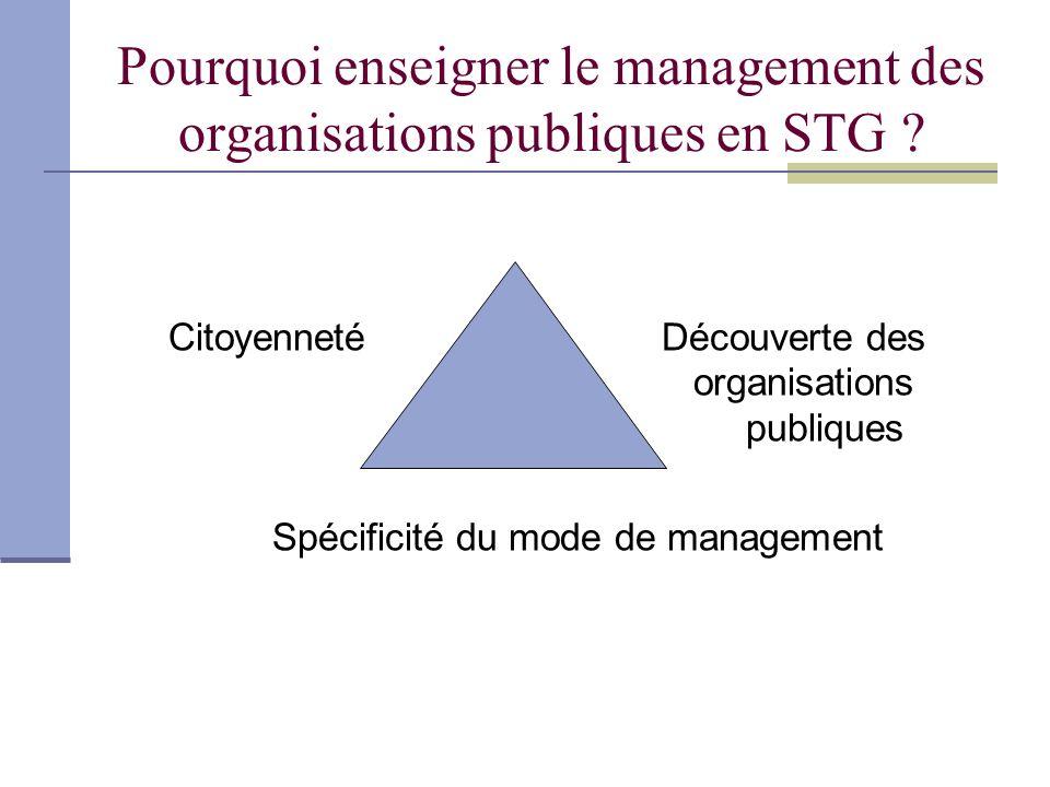 Pourquoi enseigner le management des organisations publiques en STG