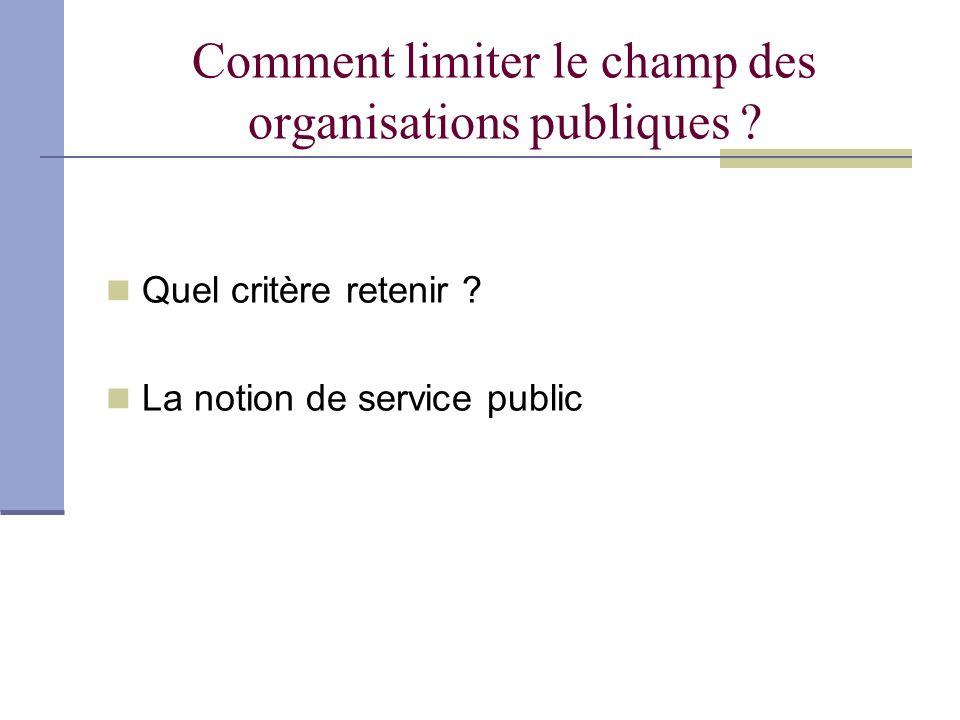 Comment limiter le champ des organisations publiques