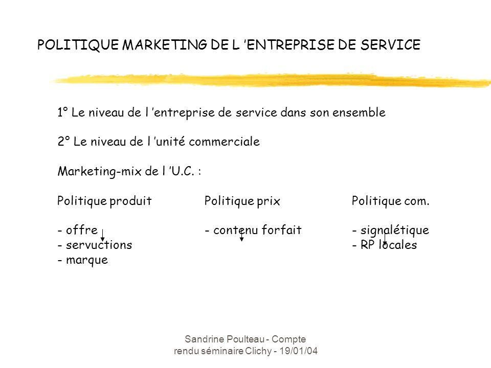 POLITIQUE MARKETING DE L 'ENTREPRISE DE SERVICE