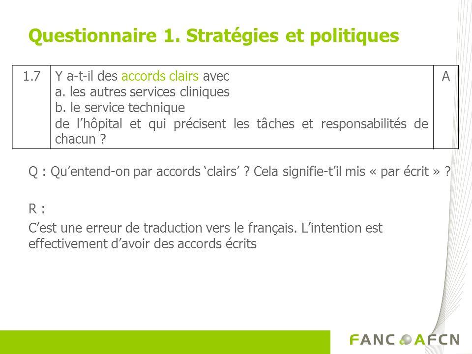 Questionnaire 1. Stratégies et politiques