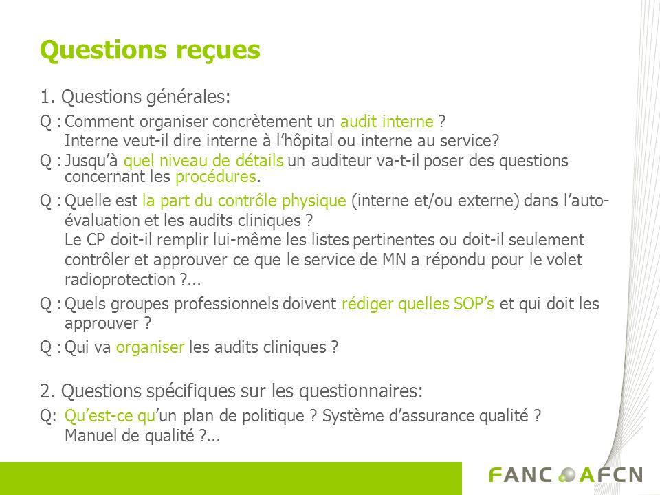 Questions reçues 1. Questions générales: