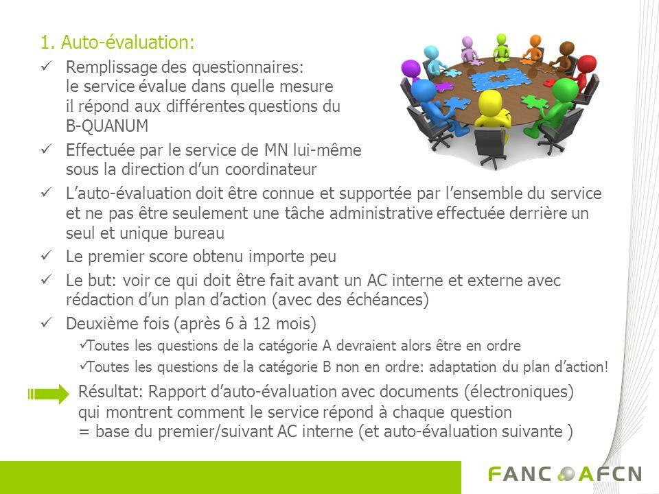 1. Auto-évaluation: Remplissage des questionnaires: le service évalue dans quelle mesure il répond aux différentes questions du B-QUANUM.