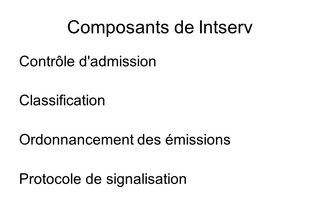 Composants de Intserv Contrôle d admission Classification