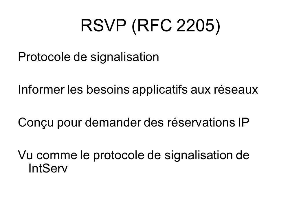 RSVP (RFC 2205) Protocole de signalisation