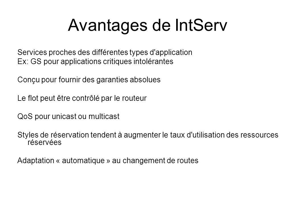 Avantages de IntServ Services proches des différentes types d application. Ex: GS pour applications critiques intolérantes.