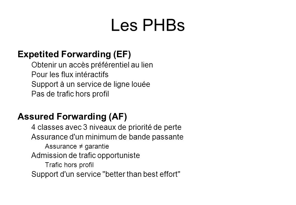 Les PHBs Expetited Forwarding (EF) Assured Forwarding (AF)