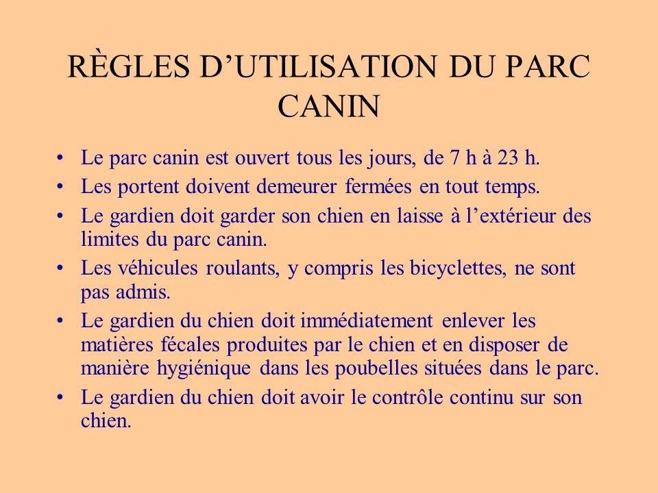 RÈGLES D'UTILISATION DU PARC CANIN