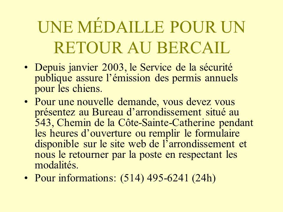 UNE MÉDAILLE POUR UN RETOUR AU BERCAIL
