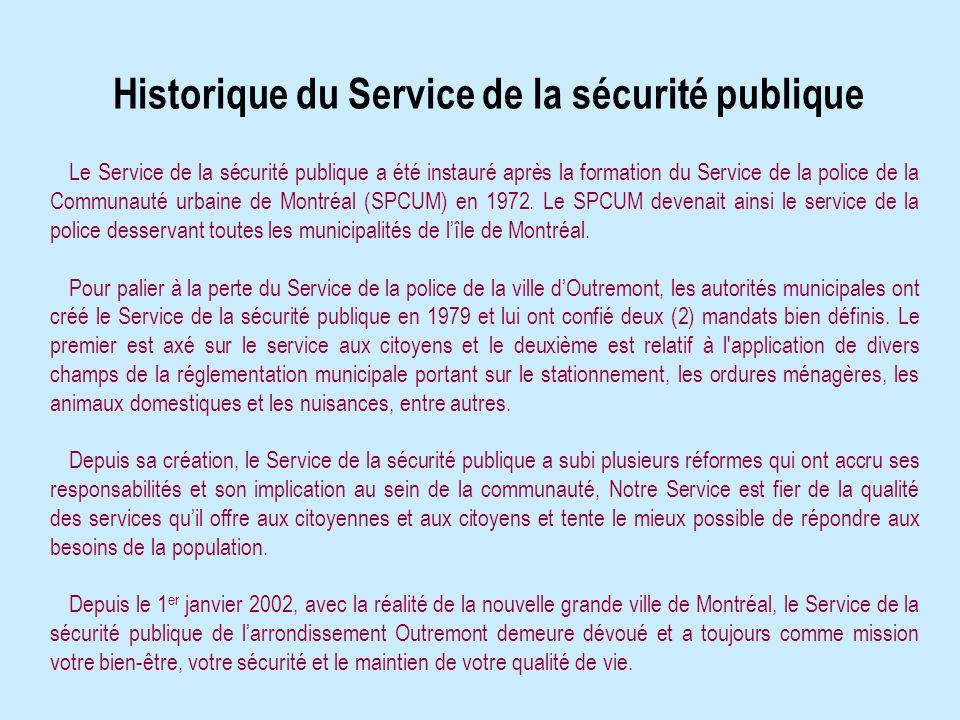 Historique du Service de la sécurité publique