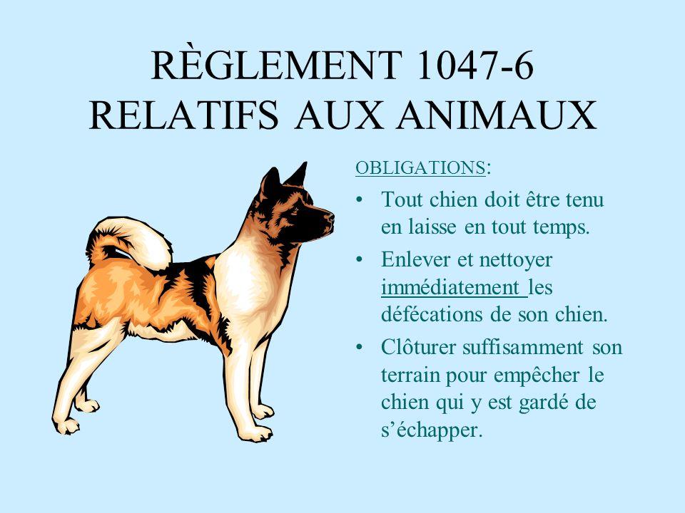 RÈGLEMENT 1047-6 RELATIFS AUX ANIMAUX