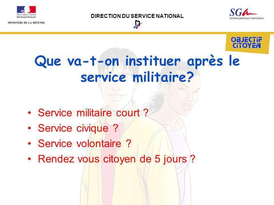 Que va-t-on instituer après le service militaire
