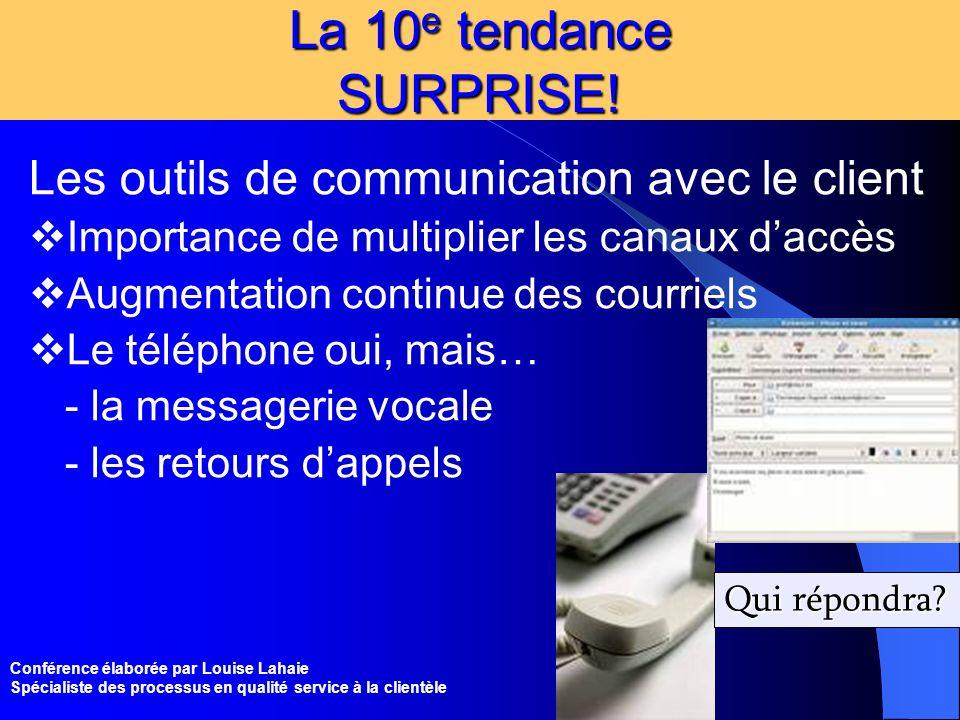 La 10e tendance SURPRISE! Les outils de communication avec le client