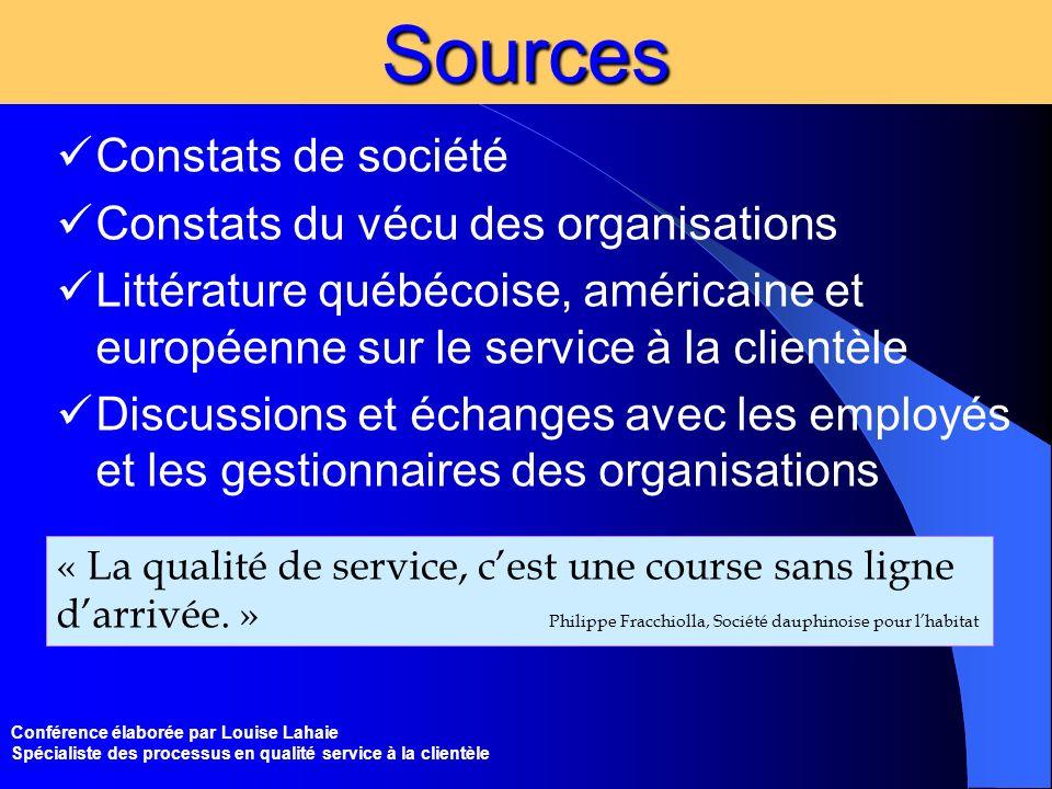 Sources Constats de société Constats du vécu des organisations
