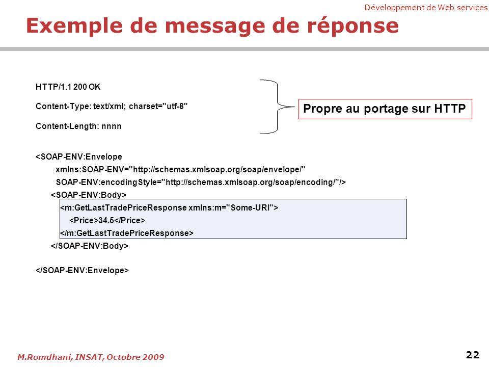Exemple de message de réponse