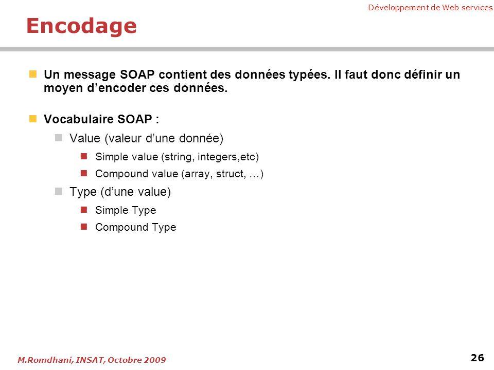 Encodage Un message SOAP contient des données typées. Il faut donc définir un moyen d'encoder ces données.