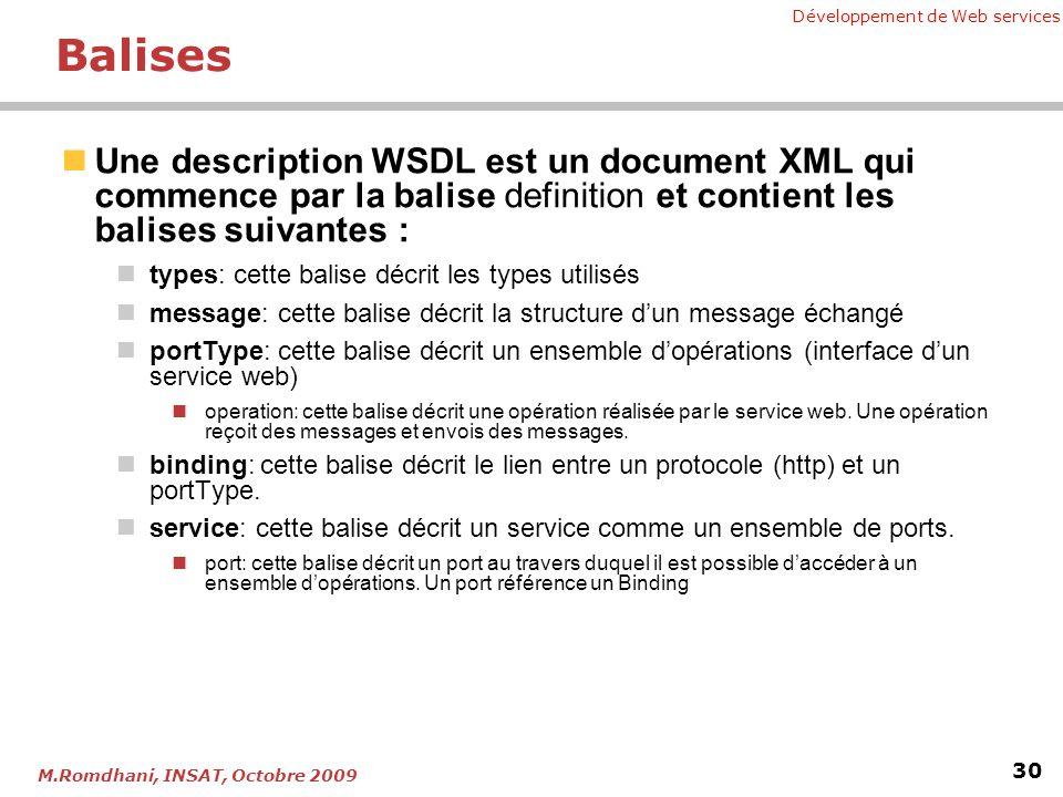 Balises Une description WSDL est un document XML qui commence par la balise definition et contient les balises suivantes :