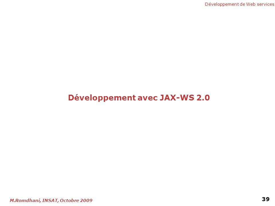 Développement avec JAX-WS 2.0