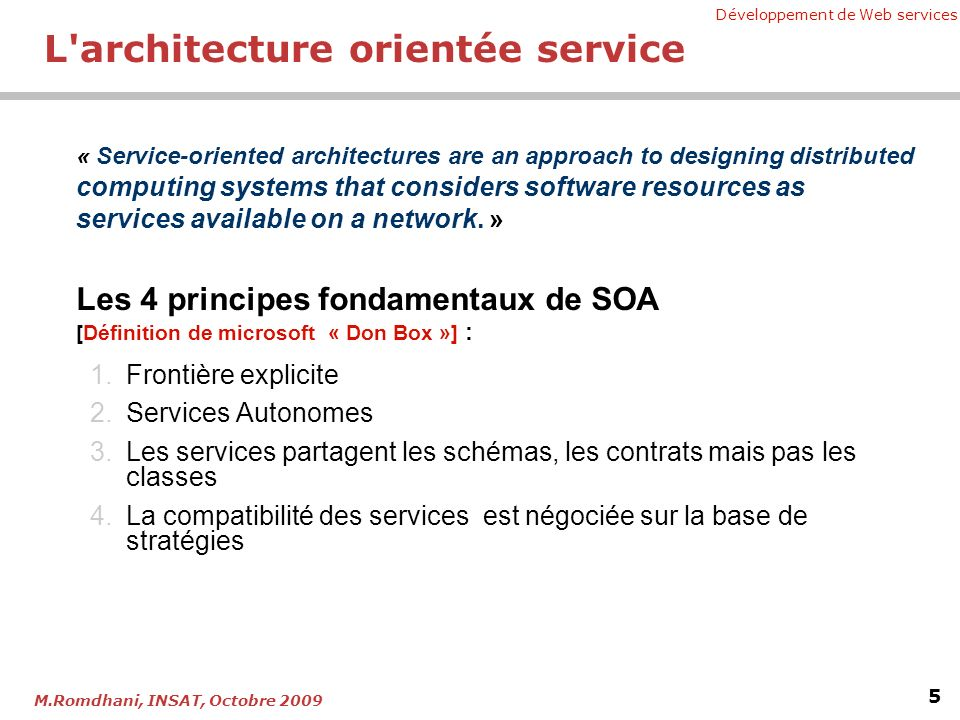Chapitre 5 web services le nouveau standard jax ws ppt for Architecture orientee service