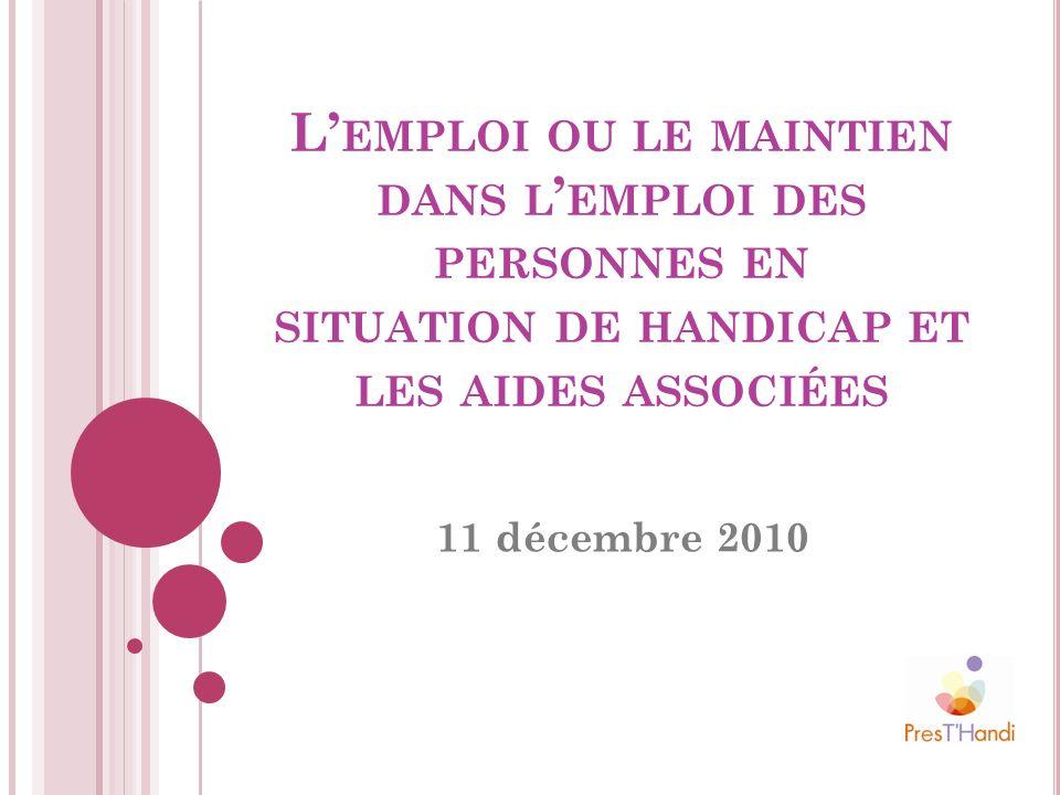 L'emploi ou le maintien dans l'emploi des personnes en situation de handicap et les aides associées