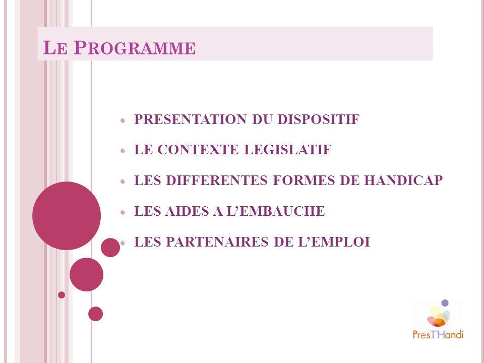 Le PROGRAMME PRESENTATION DU DISPOSITIF LE CONTEXTE LEGISLATIF