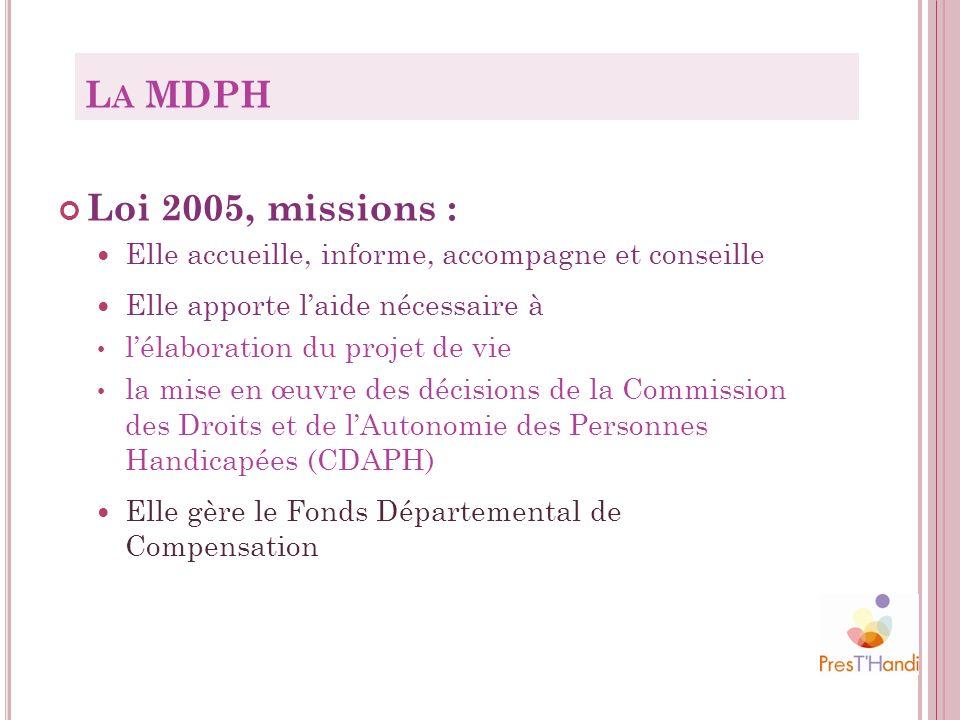 La MDPH Loi 2005, missions : Elle accueille, informe, accompagne et conseille. Elle apporte l'aide nécessaire à.