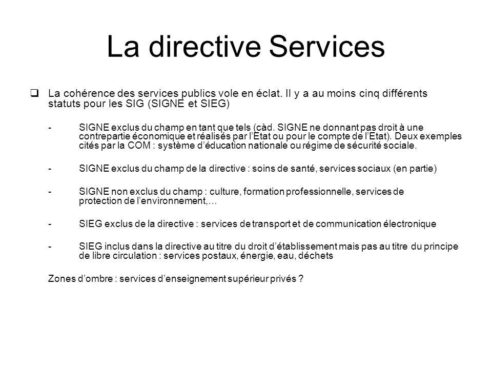 La directive Services La cohérence des services publics vole en éclat. Il y a au moins cinq différents statuts pour les SIG (SIGNE et SIEG)
