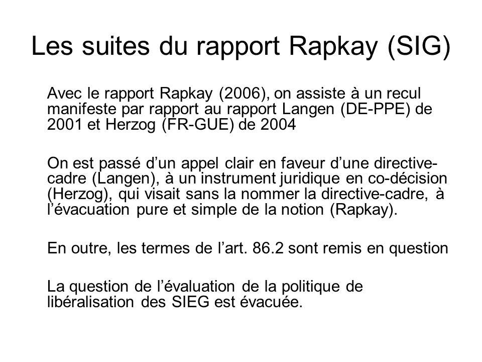 Les suites du rapport Rapkay (SIG)