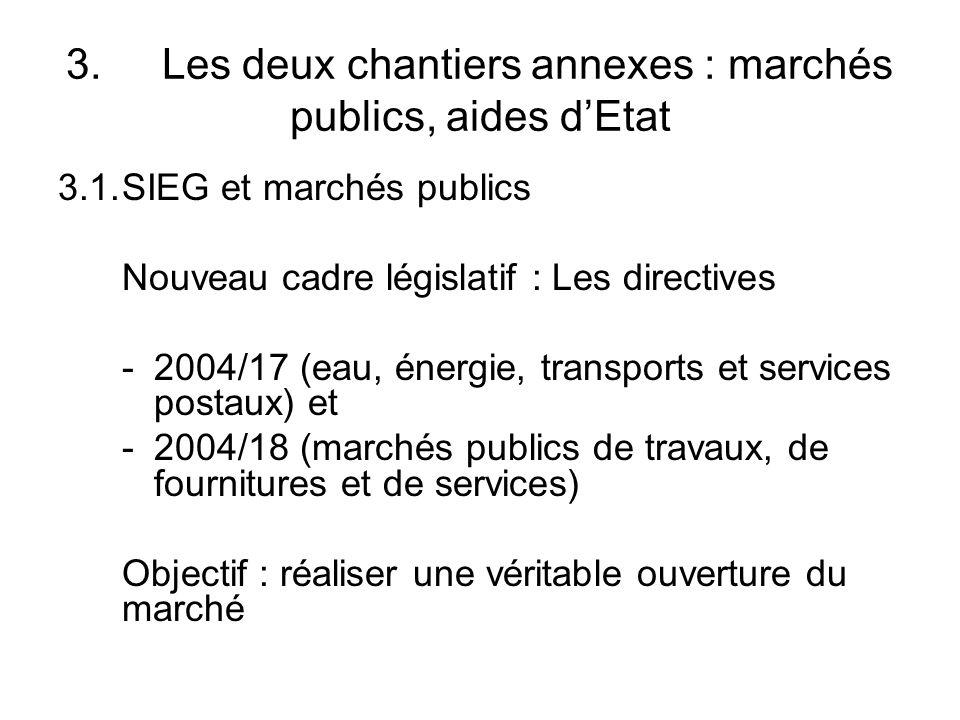 3. Les deux chantiers annexes : marchés publics, aides d'Etat