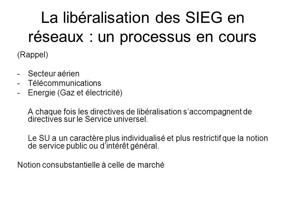 La libéralisation des SIEG en réseaux : un processus en cours
