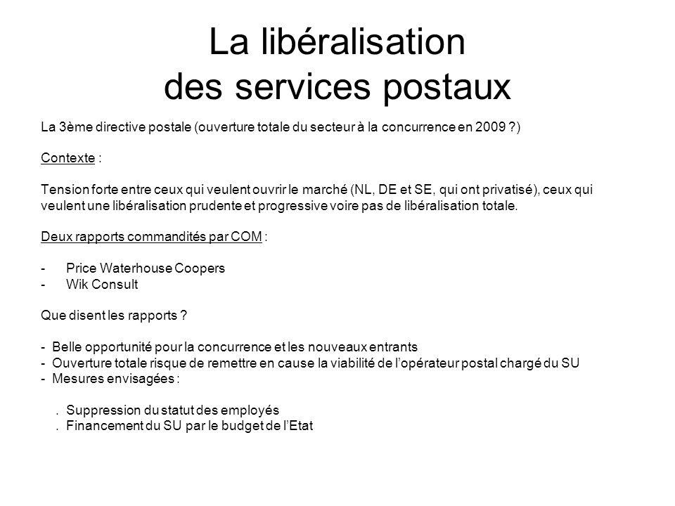 La libéralisation des services postaux