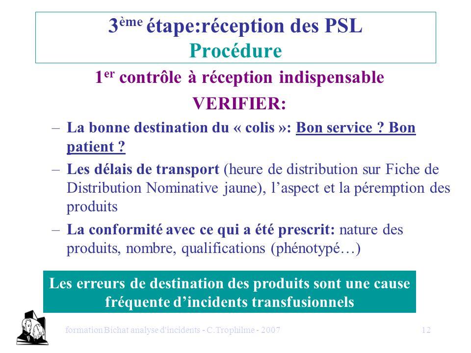 3ème étape:réception des PSL Procédure