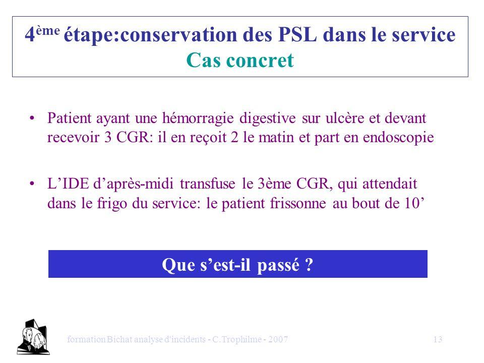 4ème étape:conservation des PSL dans le service Cas concret