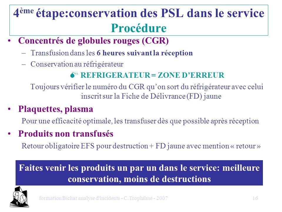4ème étape:conservation des PSL dans le service Procédure