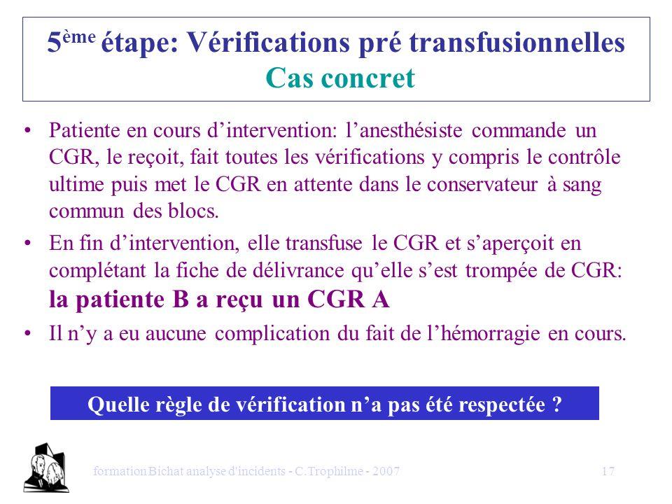 5ème étape: Vérifications pré transfusionnelles Cas concret