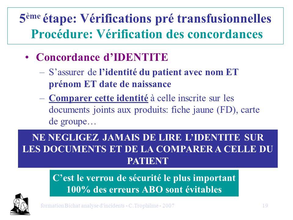 5ème étape: Vérifications pré transfusionnelles Procédure: Vérification des concordances