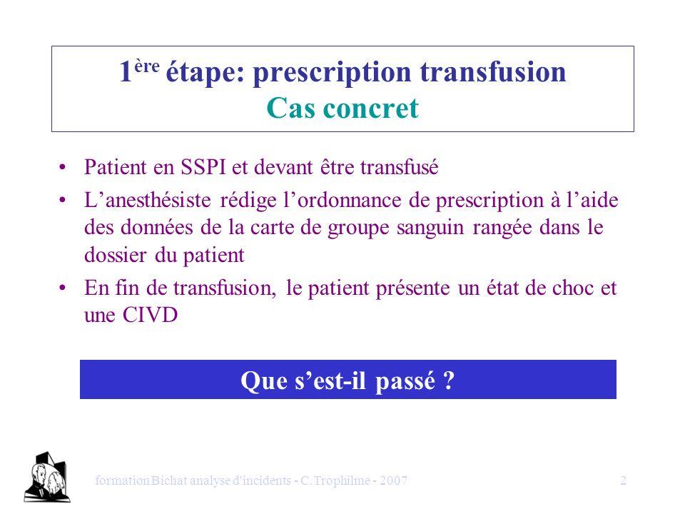 1ère étape: prescription transfusion Cas concret