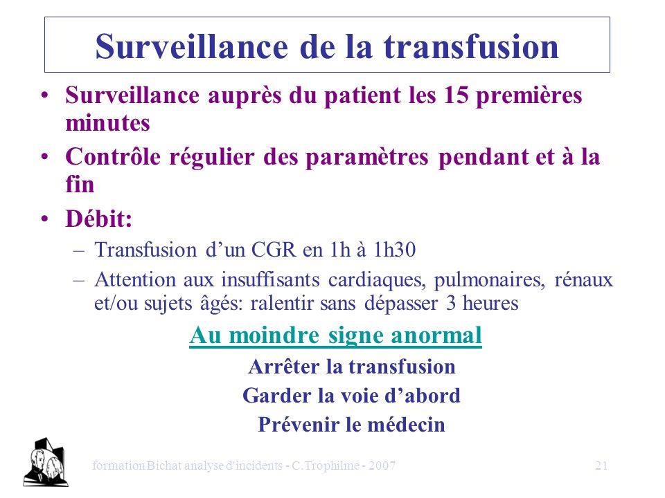 Surveillance de la transfusion