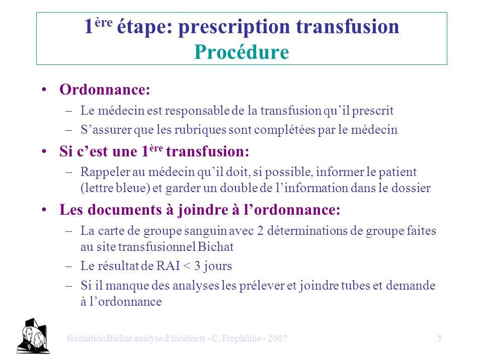1ère étape: prescription transfusion Procédure