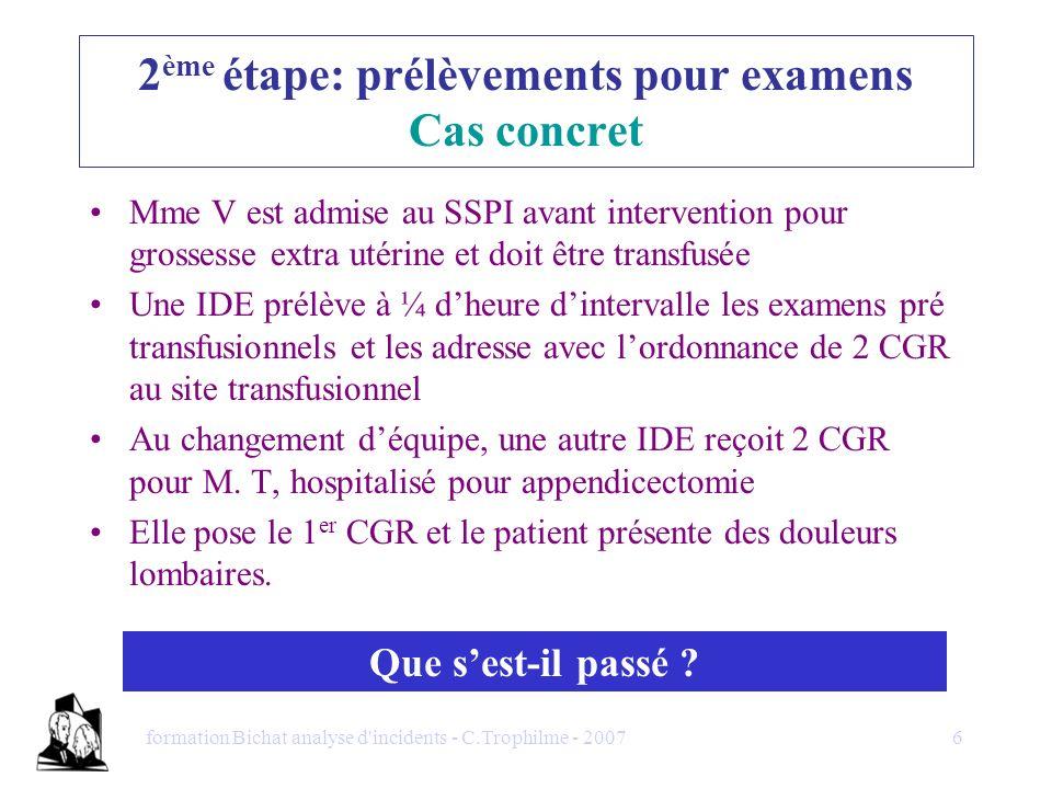 2ème étape: prélèvements pour examens Cas concret