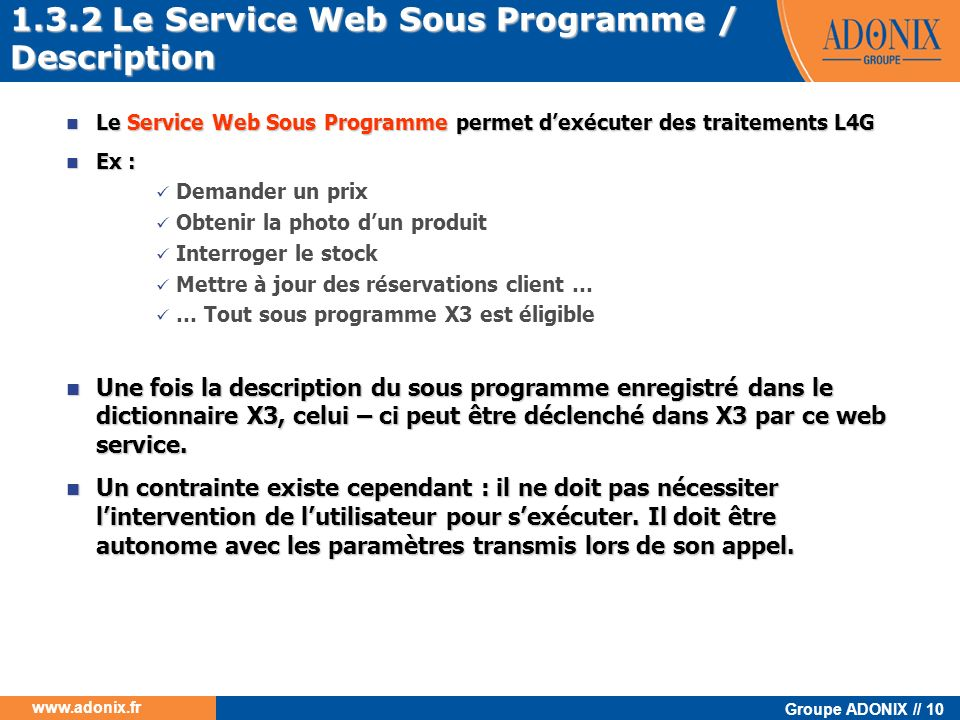 1.3.2 Le Service Web Sous Programme / Description