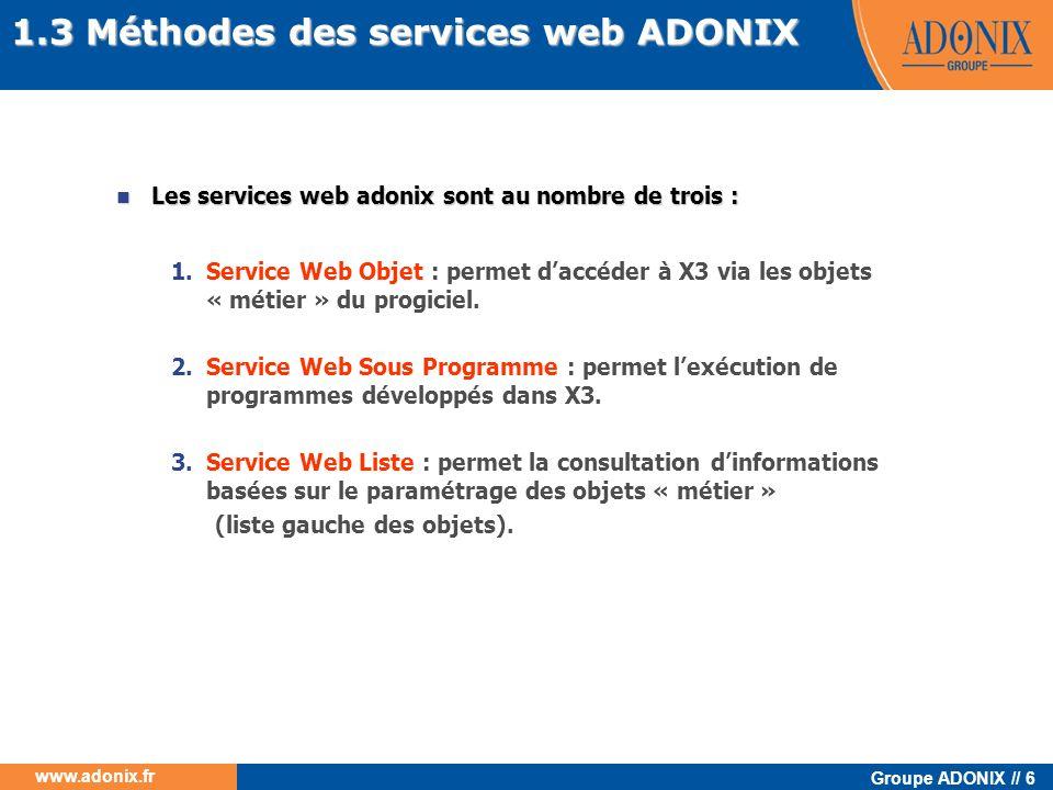1.3 Méthodes des services web ADONIX