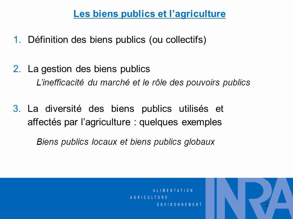 Les biens publics et l'agriculture